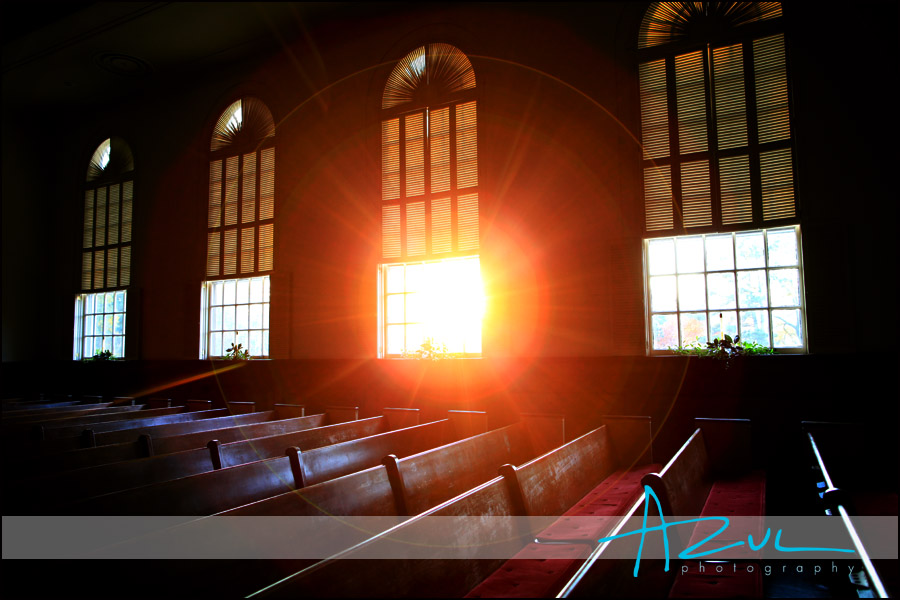 Sunlight spills into the First Presbyterian Church before the wedding.