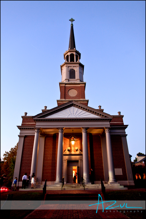 Photography of the First Presbyterian Church in Wilson perparing for a wedding.